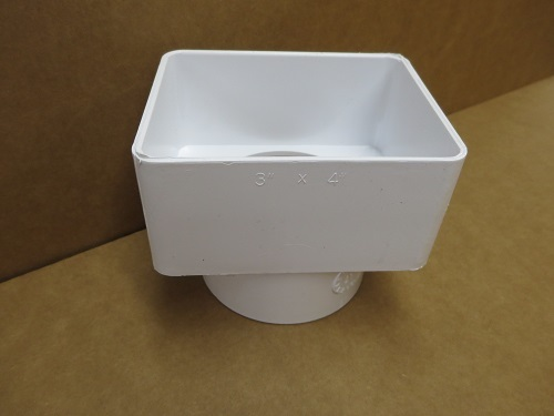 "3x4x3"" White PVC Center Mount Tile Adapter"